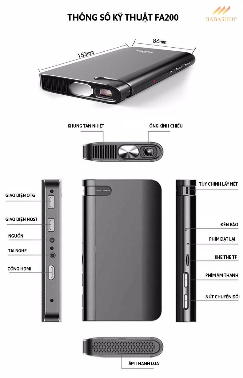 Máy Chiếu Di Động Mini Fujitsu FA200 - Cấu Hình Mạnh Mẽ