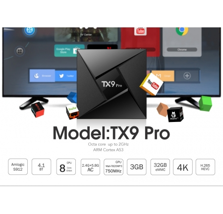 Smart Android TV Box Tanix Tx9 Pro - Ram 3GB, Rom 32GB, Android 7.1, Amlogic S912.